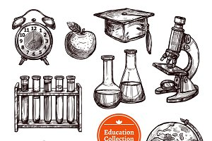 Education hand drawn sketch set