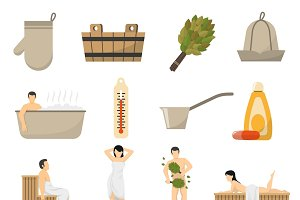 Bath sauna and spa flat icons