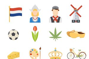 Colorful netherlands symbols