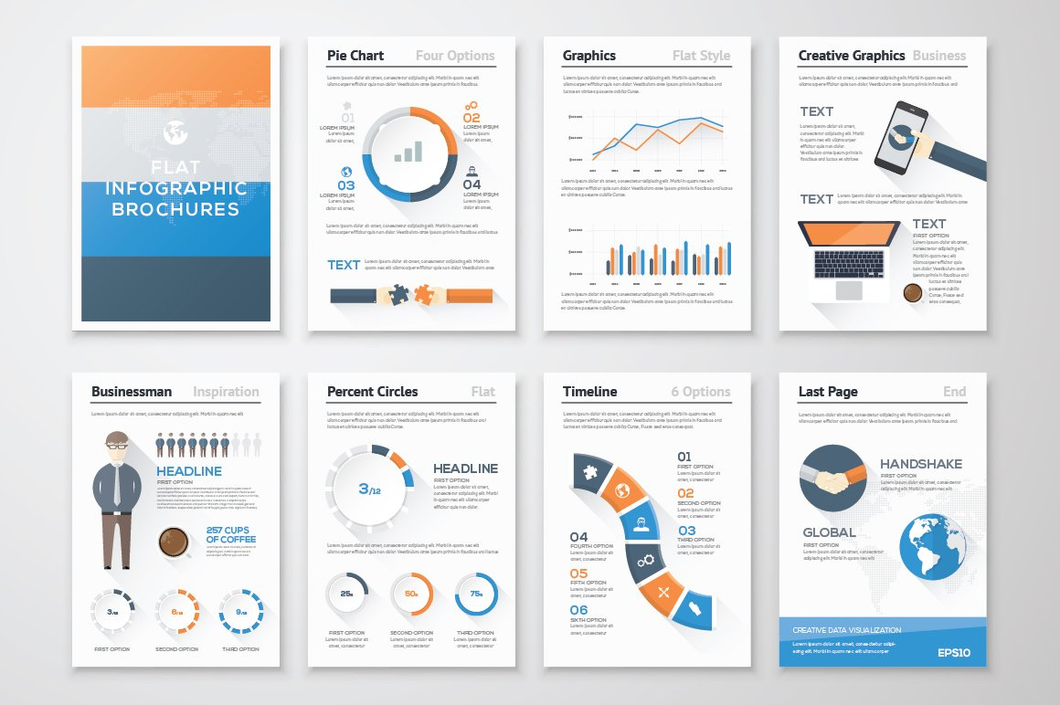 infographic brochure template - infographic brochure elements 13 illustrations
