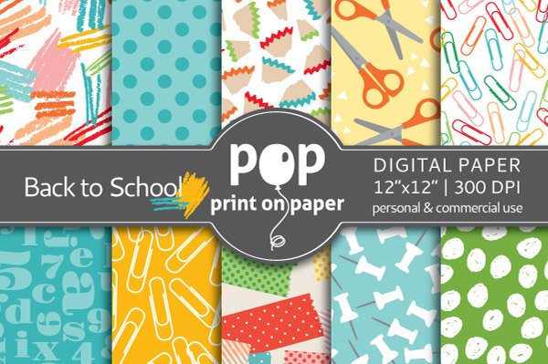 Back to School - 10 digital papers ~ Graphic Patterns ~ Creative Market