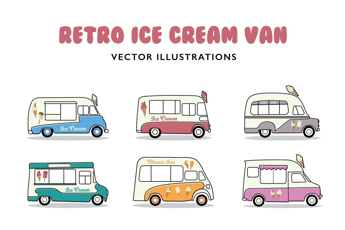 official shop best choice on feet at Retro Ice Cream Vans ~ Illustrations ~ Creative Market