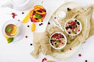 Tasty and healthy oatmeal porridge