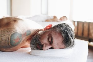 Man relaxing with a spa treatment
