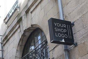 Black shop sign logo mockup