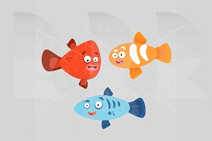 Three colorful fishes