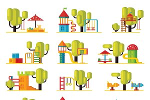 Colorful Playground Elements Set