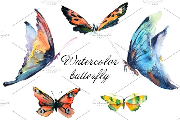 246001 Watercolor Butterfly on Transparent Emoji Food