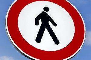 No pedestrians road sign