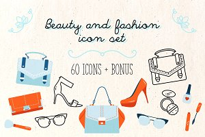 Beaty and Fashion icon set +Bonus