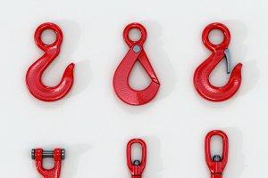 3D set of New Red lifting crane hook
