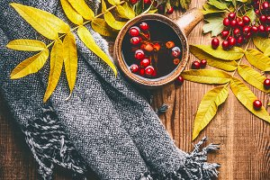 Mug of herbal tea. Autumn