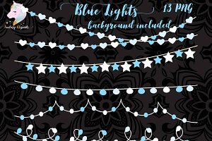 Blue String Of Lights Clipart