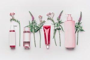 Pink herbal natural facial cosmetic