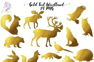 Gold Foil Woodland Animals Clipart