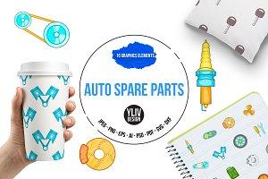 Auto spare parts icons set