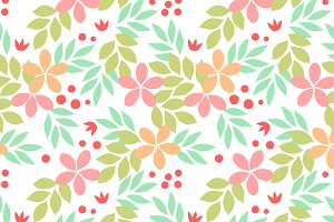 Pastel colored flowers pattern