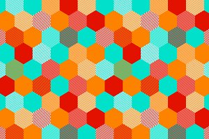 Colorful hexagon seamless pattern