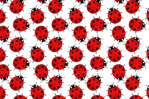 Colorful red ladybugs pattern
