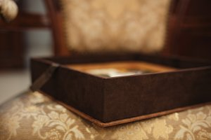 Brown leather wedding photobook