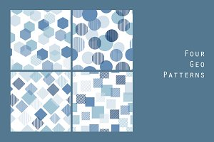 Blue and white geo patterns set