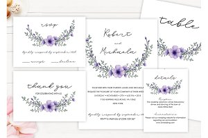 Modern Lavender Wedding Invitation