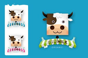 Set of Cow Milk Farm Logo design
