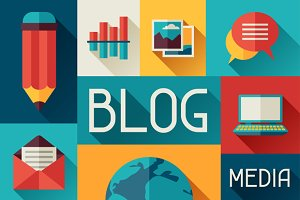 Illustration with blog icons.