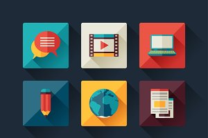 Set of blog icons in flat style.