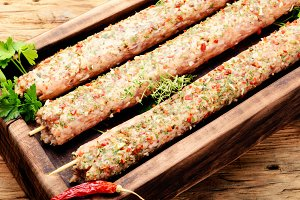 Kebab of lamb with herbs