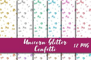 Glitter Unicorn Confetti Overlay