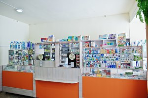 Сounter store table pharmacy