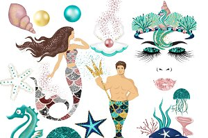 Glitter Mermaid Clipart
