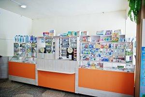 Сounter store table pharmacy