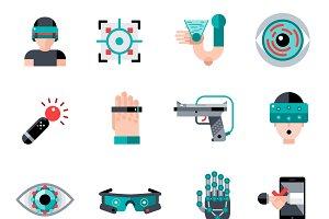 Virtual augmented reality icons set