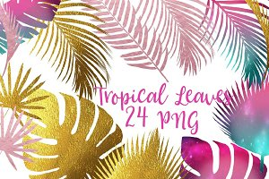 Tropical Leaves Silhouettes Clipart