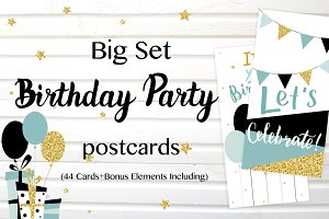 Party cards and flyers big set