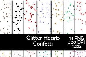Glitter Heart Confetti Overlays