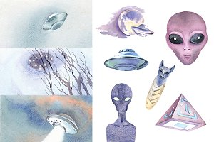 Watercolor UFO cliparts for articles