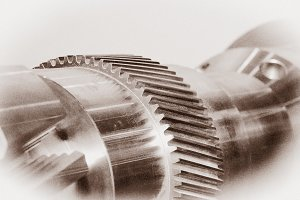 Mechanizm with gears. Vintage toned