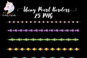 Shiny Pearl Borders Clipart