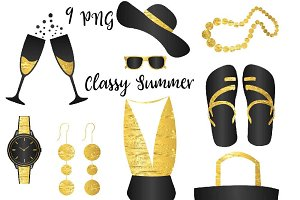 Classy Summer Accessories Clipart