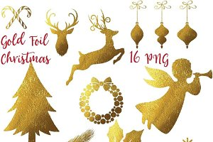 Gold Foil Christmas Clipart