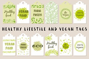 Healthy Lifestyle and Vegan Tags