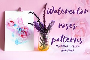 Watercolor roses patterns