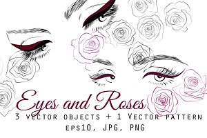 Eyes and Roses Vector Illustrations