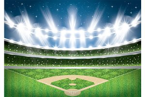Baseball Stadium with Neon Lights.