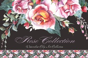 Watercolor Roses Clipart - Romantic