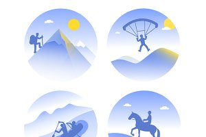mountain tourism icons