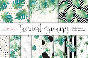 Tropical leaf digital paper